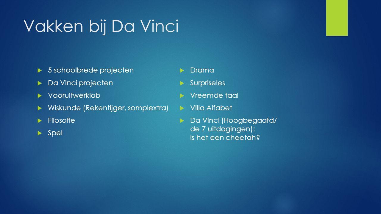 Vakken bij Da Vinci  5 schoolbrede projecten  Da Vinci projecten  Vooruitwerklab  Wiskunde (Rekentijger, somplextra)  Filosofie  Spel  Drama  Surpriseles  Vreemde taal  Villa Alfabet  Da Vinci (Hoogbegaafd/ de 7 uitdagingen): Is het een cheetah?