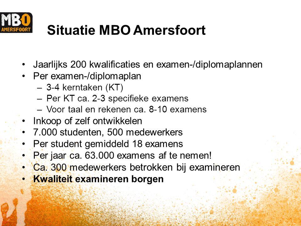 Situatie MBO Amersfoort Jaarlijks 200 kwalificaties en examen-/diplomaplannen Per examen-/diplomaplan –3-4 kerntaken (KT) –Per KT ca.