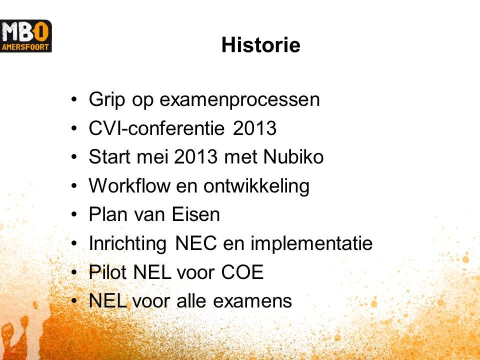 Historie Grip op examenprocessen CVI-conferentie 2013 Start mei 2013 met Nubiko Workflow en ontwikkeling Plan van Eisen Inrichting NEC en implementatie Pilot NEL voor COE NEL voor alle examens