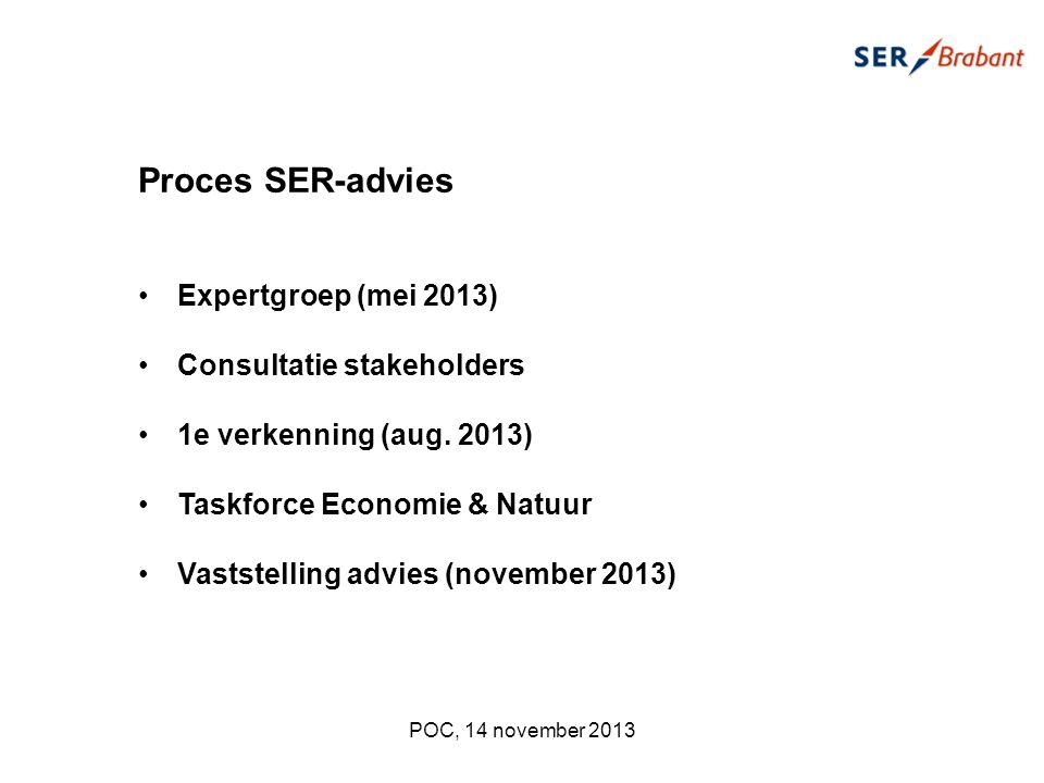 POC, 14 november 2013 Proces SER-advies Expertgroep (mei 2013) Consultatie stakeholders 1e verkenning (aug.