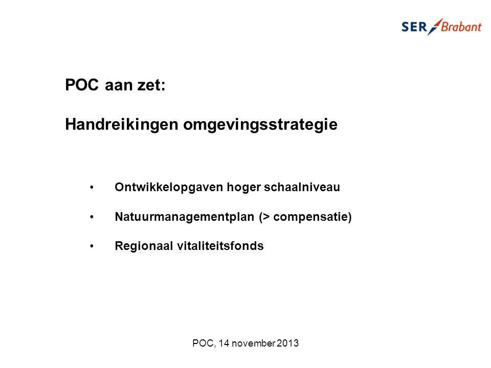 POC aan zet: Handreikingen omgevingsstrategie Ontwikkelopgaven hoger schaalniveau Natuurmanagementplan (> compensatie) Regionaal vitaliteitsfonds POC, 14 november 2013