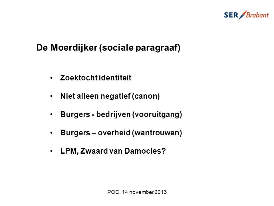 De Moerdijker (sociale paragraaf) Zoektocht identiteit Niet alleen negatief (canon) Burgers - bedrijven (vooruitgang) Burgers – overheid (wantrouwen) LPM, Zwaard van Damocles.