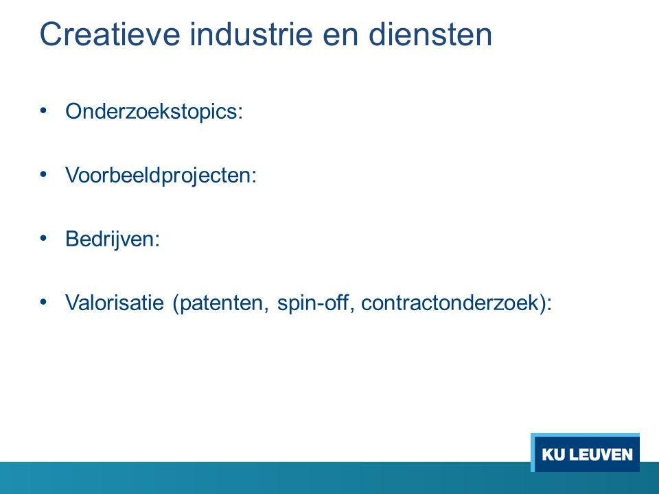 Creatieve industrie en diensten Onderzoekstopics: Voorbeeldprojecten: Bedrijven: Valorisatie (patenten, spin-off, contractonderzoek):