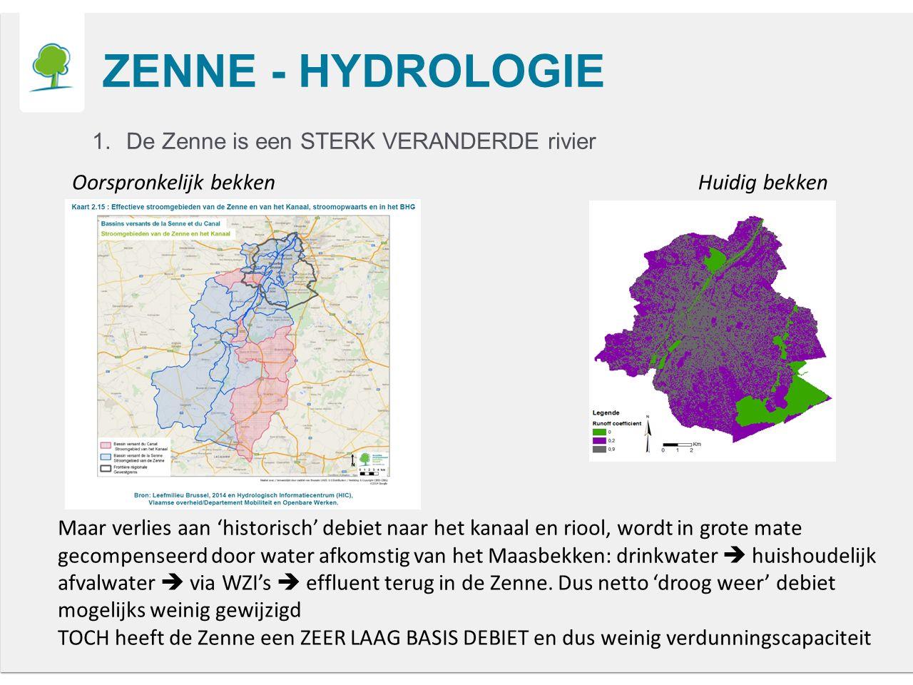 ZENNE - HYDROLOGIE 1.De Zenne is een STERK VERANDERDE rivier Oorspronkelijk bekkenHuidig bekken Maar verlies aan 'historisch' debiet naar het kanaal en riool, wordt in grote mate gecompenseerd door water afkomstig van het Maasbekken: drinkwater  huishoudelijk afvalwater  via WZI's  effluent terug in de Zenne.