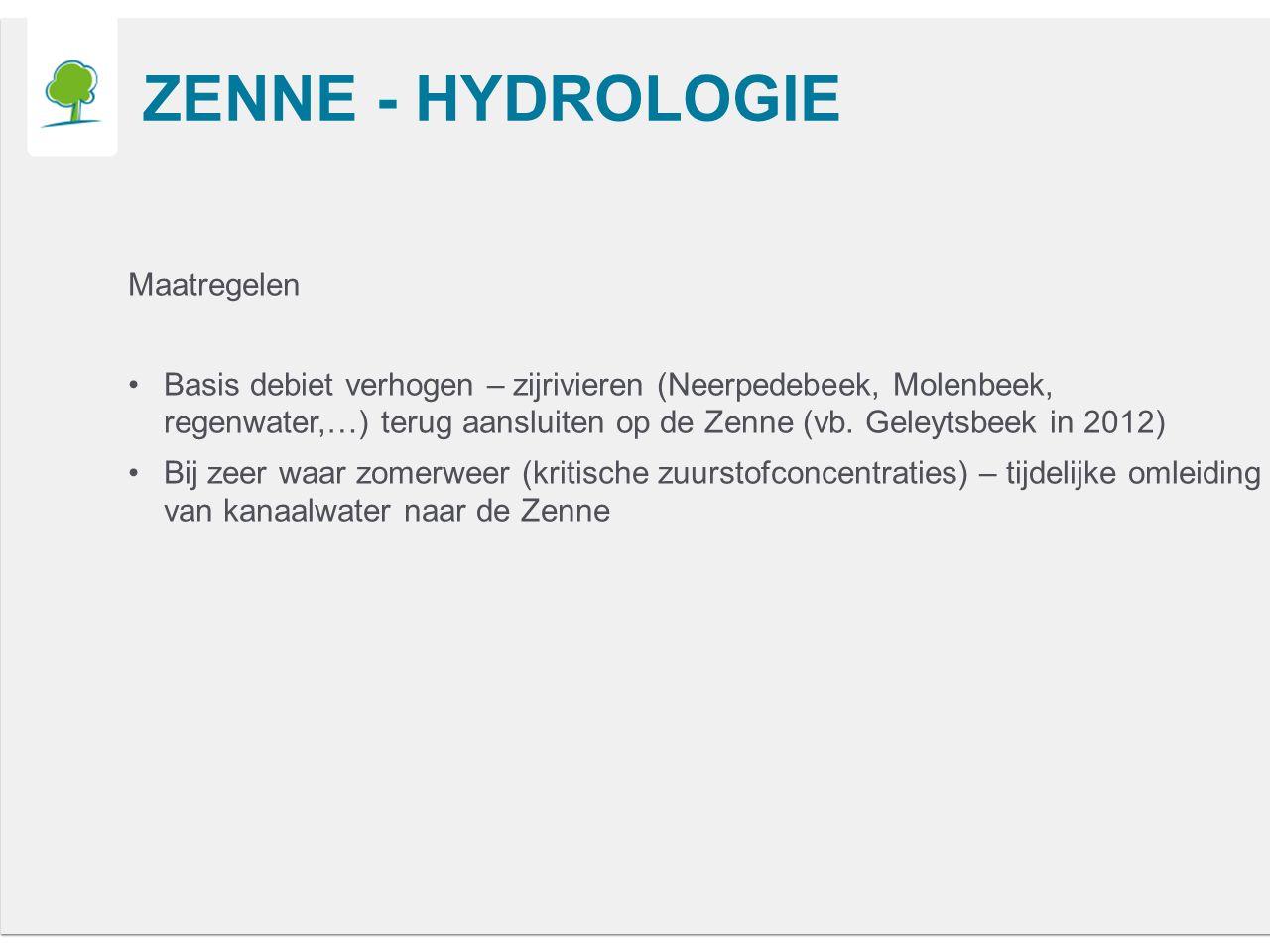 ZENNE - HYDROLOGIE Maatregelen Basis debiet verhogen – zijrivieren (Neerpedebeek, Molenbeek, regenwater,…) terug aansluiten op de Zenne (vb.