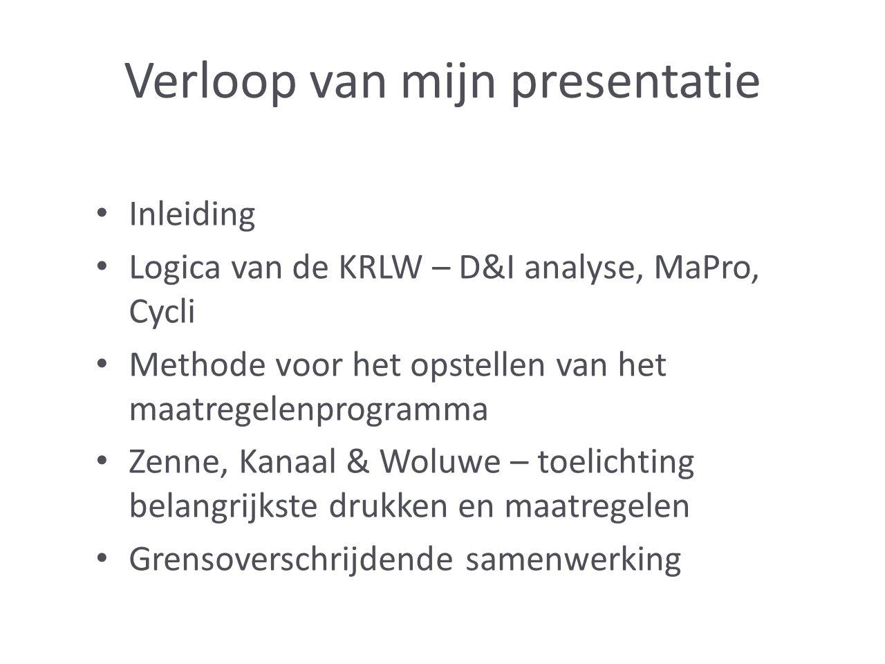 Verloop van mijn presentatie Inleiding Logica van de KRLW – D&I analyse, MaPro, Cycli Methode voor het opstellen van het maatregelenprogramma Zenne, Kanaal & Woluwe – toelichting belangrijkste drukken en maatregelen Grensoverschrijdende samenwerking