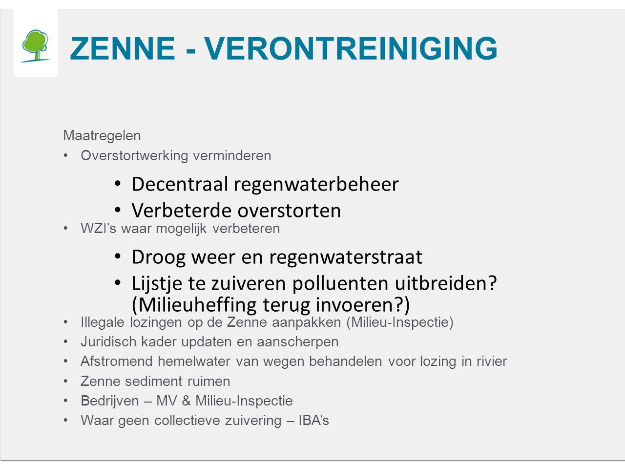 ZENNE - VERONTREINIGING Maatregelen Overstortwerking verminderen Decentraal regenwaterbeheer Verbeterde overstorten WZI's waar mogelijk verbeteren Droog weer en regenwaterstraat Lijstje te zuiveren polluenten uitbreiden.