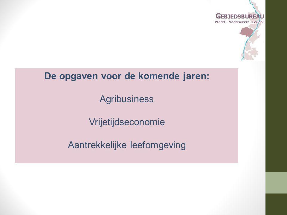 De opgaven voor de komende jaren: Agribusiness Vrijetijdseconomie Aantrekkelijke leefomgeving