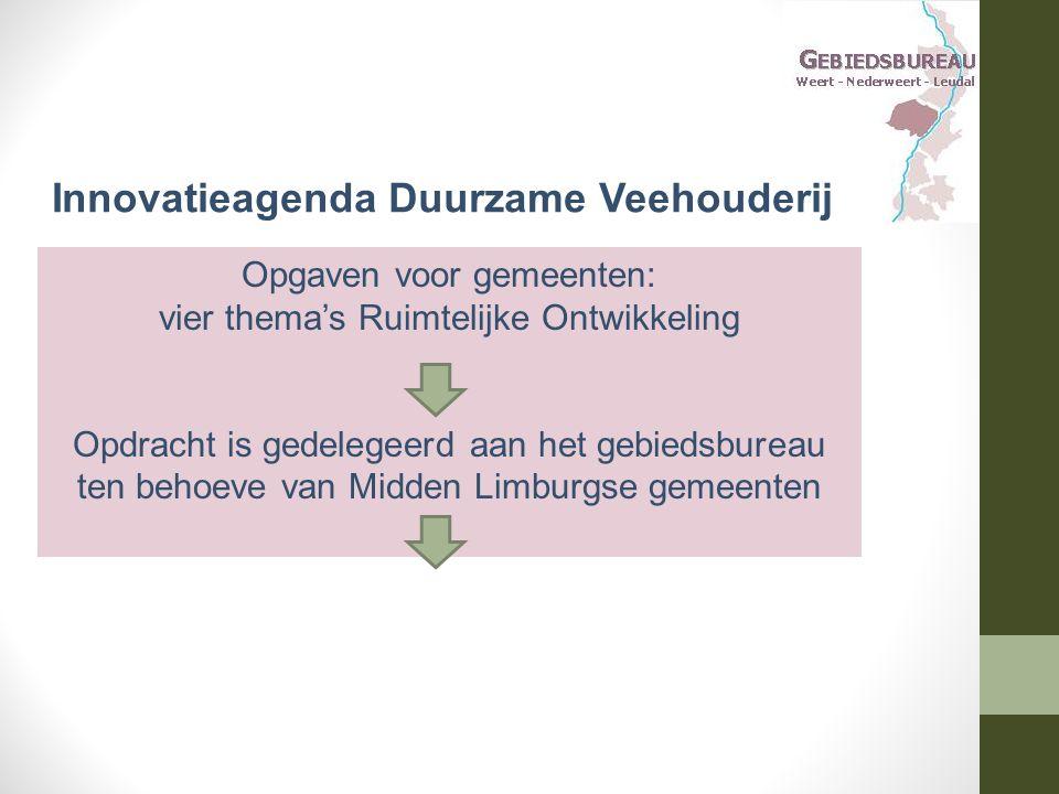 Opgaven voor gemeenten: vier thema's Ruimtelijke Ontwikkeling Opdracht is gedelegeerd aan het gebiedsbureau ten behoeve van Midden Limburgse gemeenten Innovatieagenda Duurzame Veehouderij