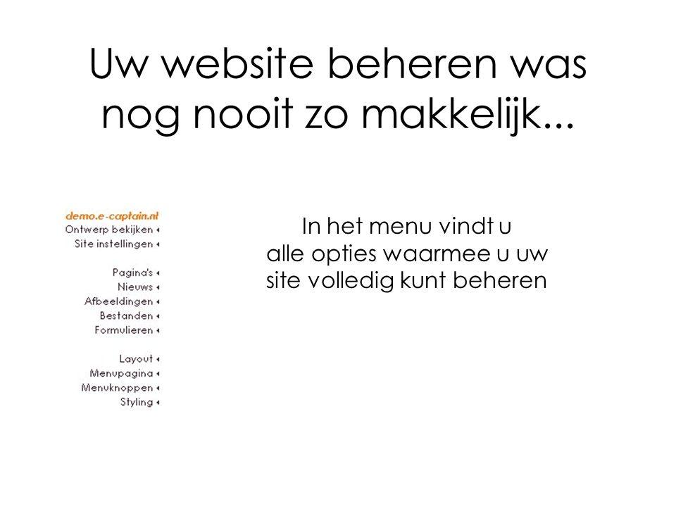 Uw website beheren was nog nooit zo makkelijk...