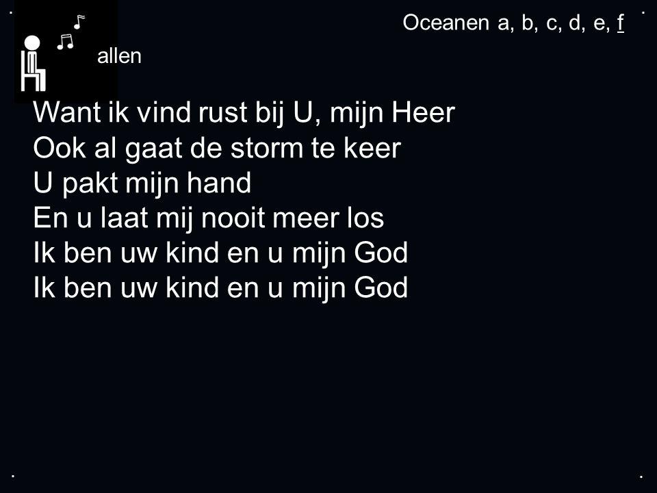 .... allen Want ik vind rust bij U, mijn Heer Ook al gaat de storm te keer U pakt mijn hand En u laat mij nooit meer los Ik ben uw kind en u mijn God