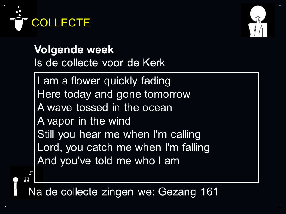 .... COLLECTE Volgende week Is de collecte voor de Kerk Na de collecte zingen we: Gezang 161 I am a flower quickly fading Here today and gone tomorrow