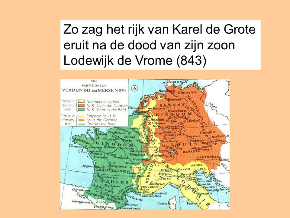 Zo zag het rijk van Karel de Grote eruit na de dood van zijn zoon Lodewijk de Vrome (843)