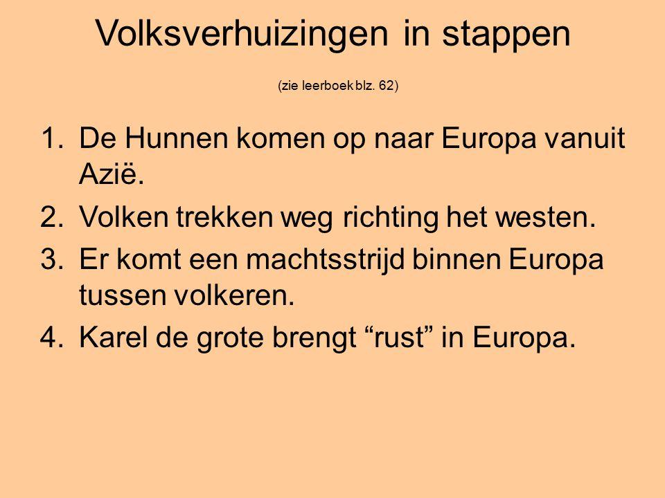 Volksverhuizingen in stappen (zie leerboek blz. 62) 1.De Hunnen komen op naar Europa vanuit Azië.