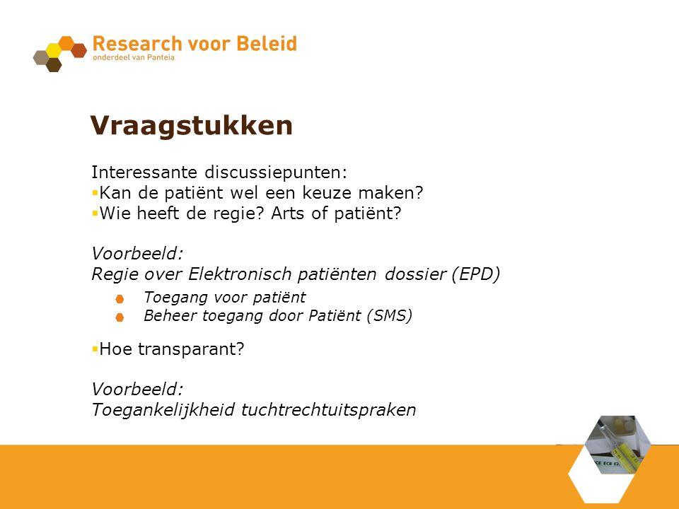 Vraagstukken Interessante discussiepunten:  Kan de patiënt wel een keuze maken.