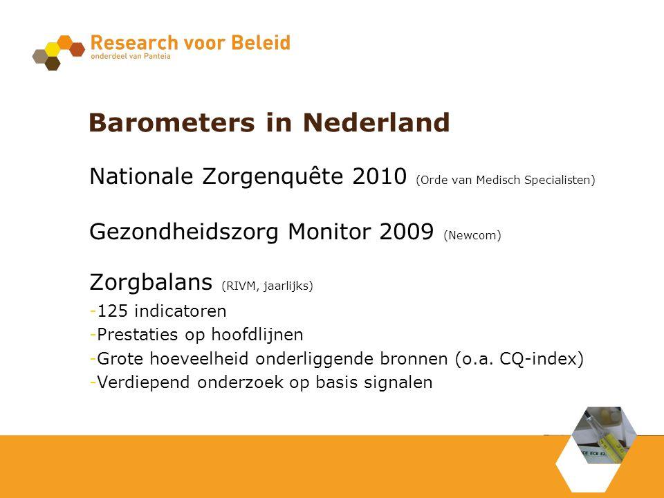 Barometers in Nederland Nationale Zorgenquête 2010 (Orde van Medisch Specialisten) Gezondheidszorg Monitor 2009 (Newcom) Zorgbalans (RIVM, jaarlijks) -125 indicatoren -Prestaties op hoofdlijnen -Grote hoeveelheid onderliggende bronnen (o.a.