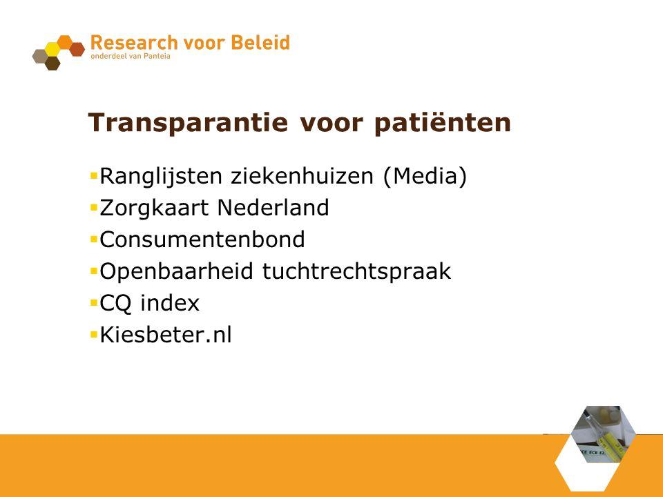 Transparantie voor patiënten  Ranglijsten ziekenhuizen (Media)  Zorgkaart Nederland  Consumentenbond  Openbaarheid tuchtrechtspraak  CQ index  Kiesbeter.nl