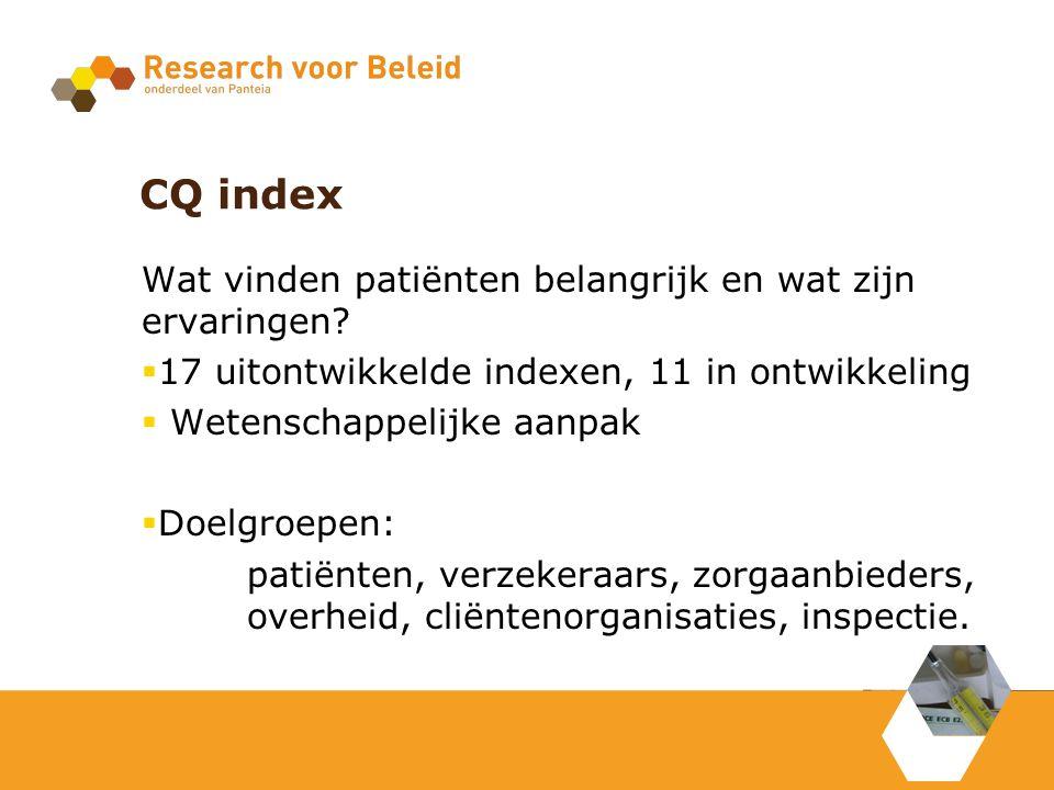 CQ index Wat vinden patiënten belangrijk en wat zijn ervaringen?  17 uitontwikkelde indexen, 11 in ontwikkeling  Wetenschappelijke aanpak  Doelgroe
