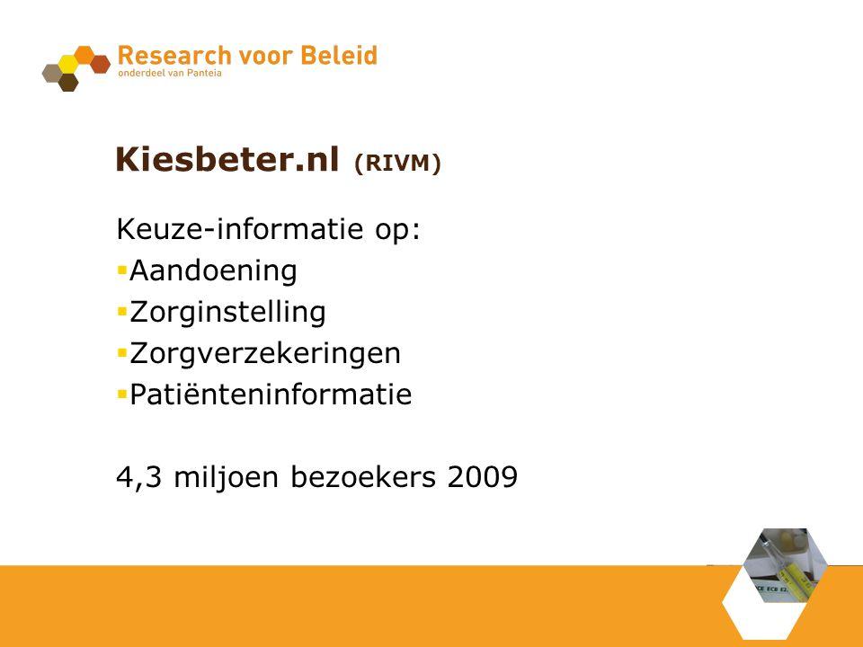 Kiesbeter.nl (RIVM) Keuze-informatie op:  Aandoening  Zorginstelling  Zorgverzekeringen  Patiënteninformatie 4,3 miljoen bezoekers 2009