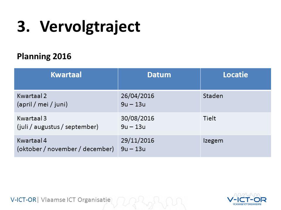 V-ICT-OR| Vlaamse ICT Organisatie 3.Vervolgtraject Planning 2016 KwartaalDatumLocatie Kwartaal 2 (april / mei / juni) 26/04/2016 9u – 13u Staden Kwartaal 3 (juli / augustus / september) 30/08/2016 9u – 13u Tielt Kwartaal 4 (oktober / november / december) 29/11/2016 9u – 13u Izegem