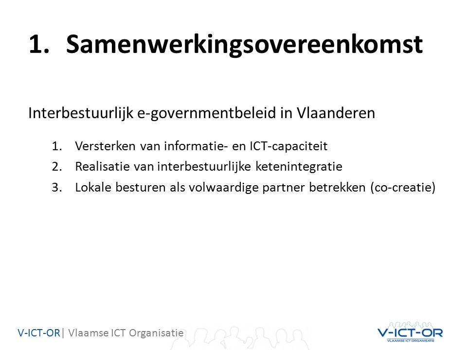 V-ICT-OR| Vlaamse ICT Organisatie 1.Samenwerkingsovereenkomst Interbestuurlijk e-governmentbeleid in Vlaanderen 1.Versterken van informatie- en ICT-capaciteit 2.Realisatie van interbestuurlijke ketenintegratie 3.Lokale besturen als volwaardige partner betrekken (co-creatie)