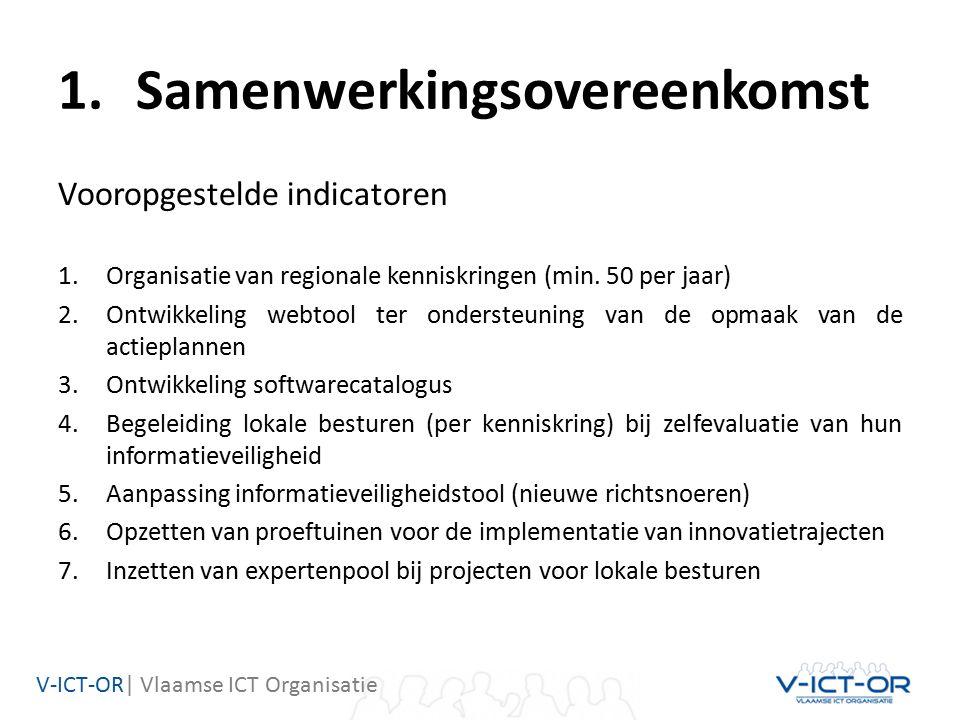 V-ICT-OR| Vlaamse ICT Organisatie 1.Samenwerkingsovereenkomst Vooropgestelde indicatoren 1.Organisatie van regionale kenniskringen (min.