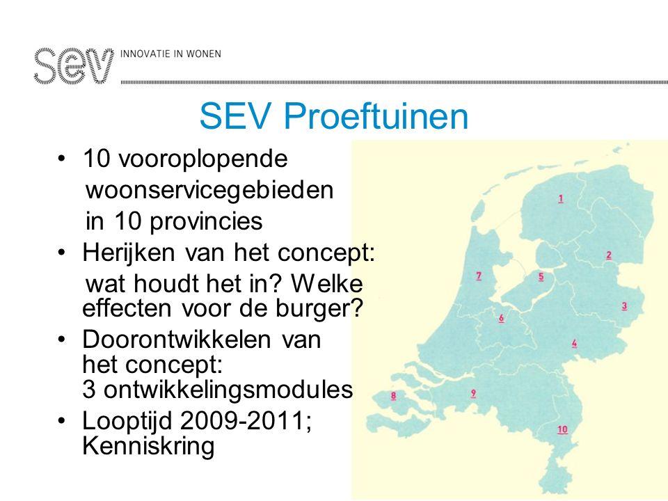 SEV Proeftuinen 10 vooroplopende woonservicegebieden in 10 provincies Herijken van het concept: wat houdt het in.