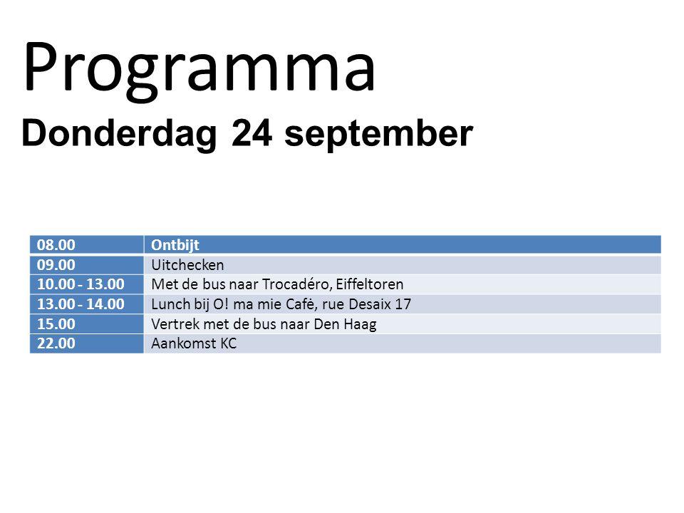 Programma Donderdag 24 september 08.00Ontbijt 09.00Uitchecken 10.00 - 13.00Met de bus naar Trocadéro, Eiffeltoren 13.00 - 14.00Lunch bij O.