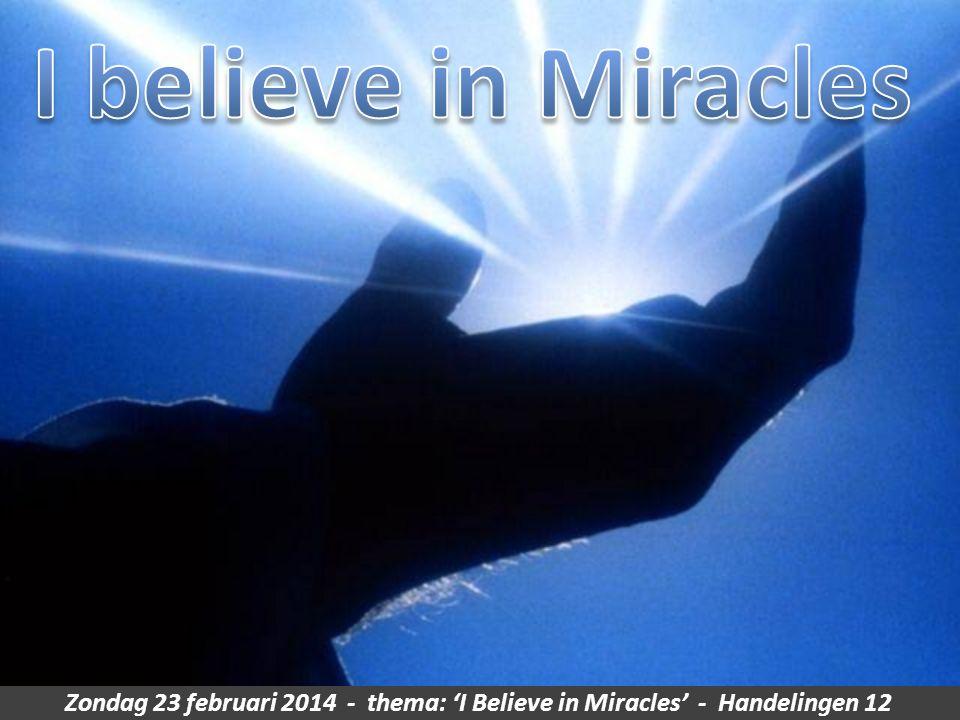 Zondag 23 februari 2014 - thema: 'I Believe in Miracles' - Handelingen 12