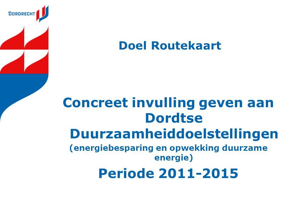 Doel Routekaart Concreet invulling geven aan Dordtse Duurzaamheiddoelstellingen (energiebesparing en opwekking duurzame energie) Periode 2011-2015