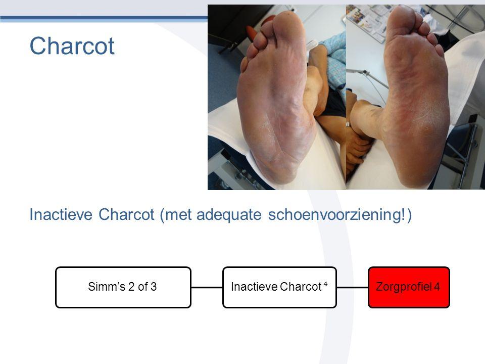 Charcot Inactieve Charcot (met adequate schoenvoorziening!) Simm's 2 of 3 Inactieve Charcot ⁴ Zorgprofiel 4