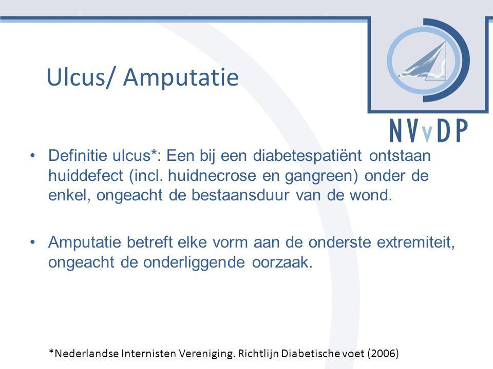 Ulcus/ Amputatie Definitie ulcus*: Een bij een diabetespatiënt ontstaan huiddefect (incl.