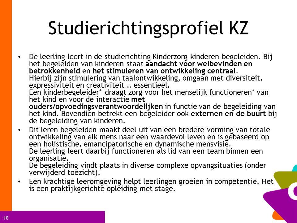 10 Studierichtingsprofiel KZ De leerling leert in de studierichting Kinderzorg kinderen begeleiden. Bij het begeleiden van kinderen staat aandacht voo