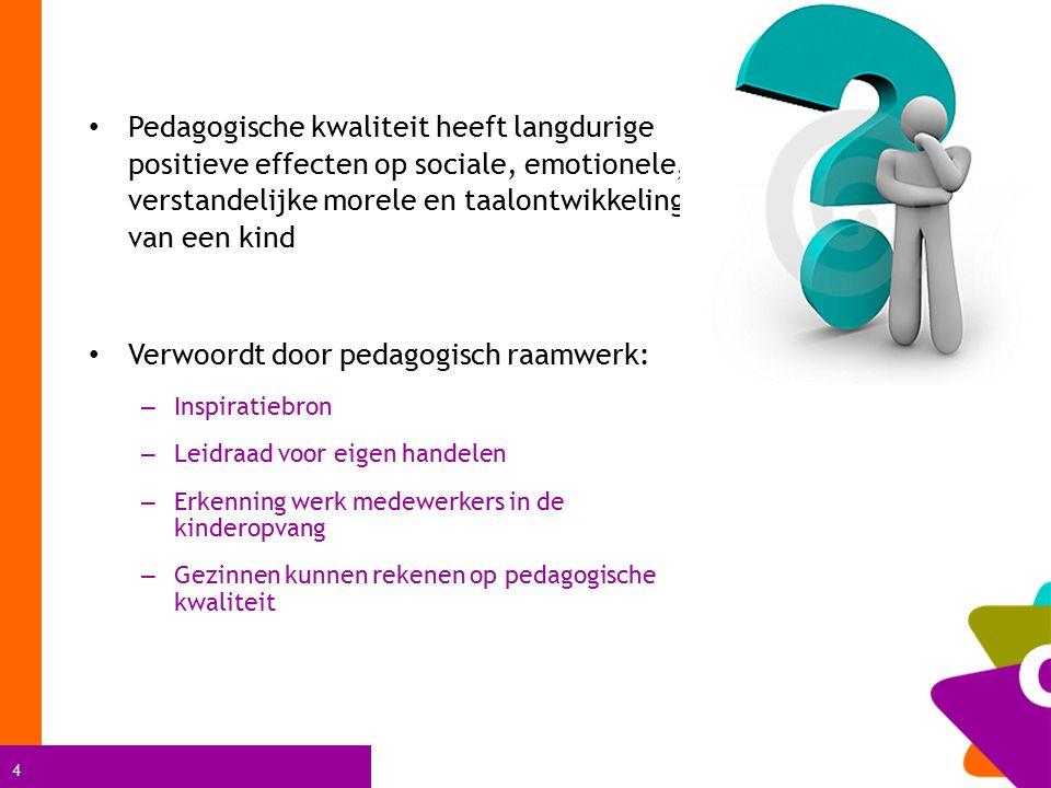 4 Pedagogische kwaliteit heeft langdurige positieve effecten op sociale, emotionele, verstandelijke morele en taalontwikkeling van een kind Verwoordt