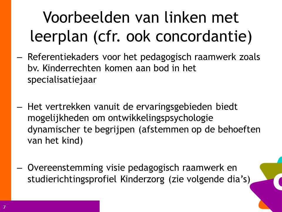 7 Voorbeelden van linken met leerplan (cfr. ook concordantie) – Referentiekaders voor het pedagogisch raamwerk zoals bv. Kinderrechten komen aan bod i