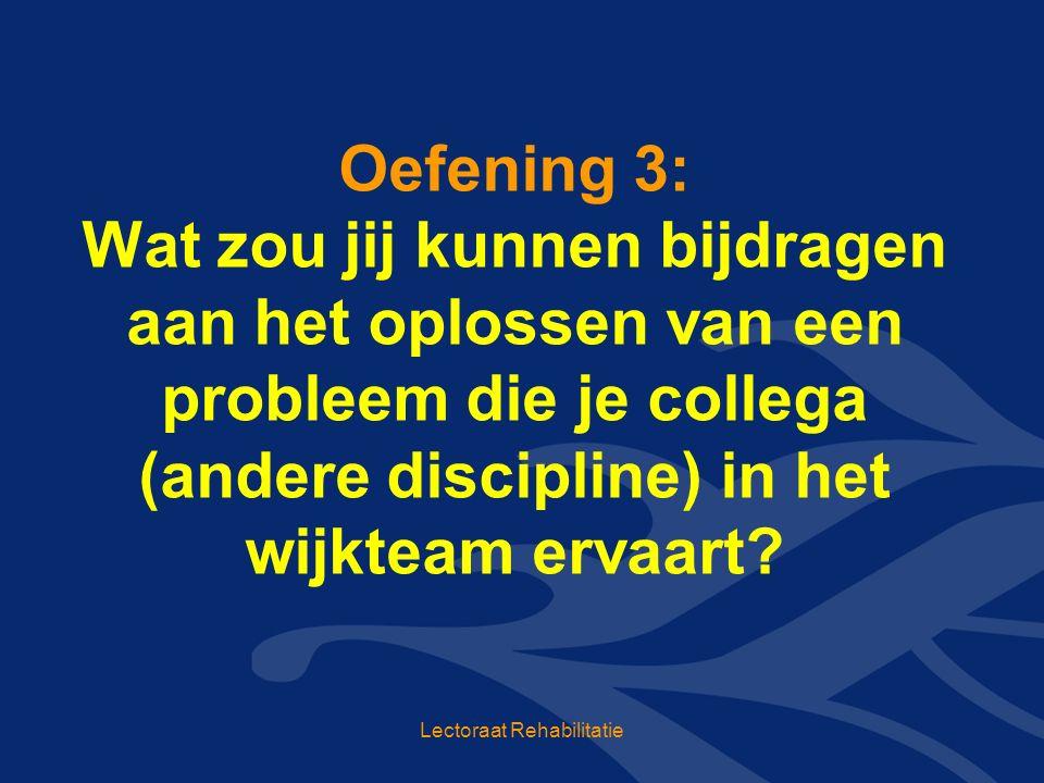 Oefening 3: Wat zou jij kunnen bijdragen aan het oplossen van een probleem die je collega (andere discipline) in het wijkteam ervaart.
