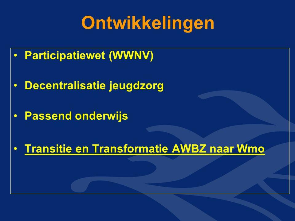Ontwikkelingen Participatiewet (WWNV) Decentralisatie jeugdzorg Passend onderwijs Transitie en Transformatie AWBZ naar Wmo