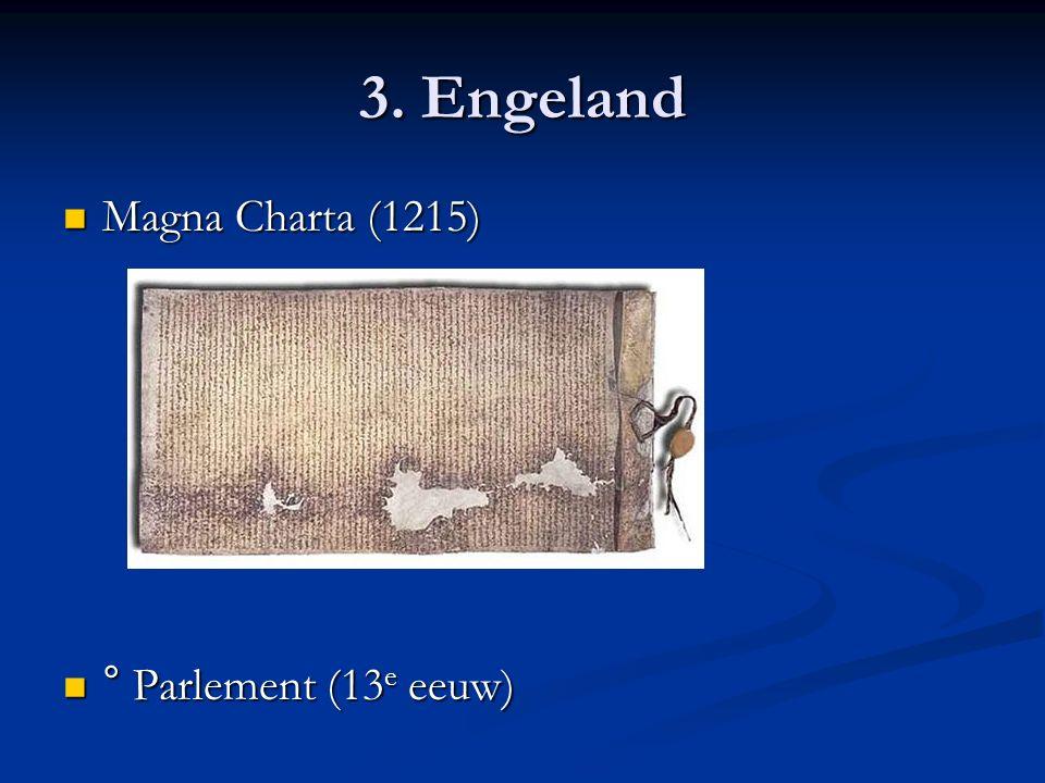 3. Engeland Magna Charta (1215) Magna Charta (1215) ° Parlement (13 e eeuw) ° Parlement (13 e eeuw)