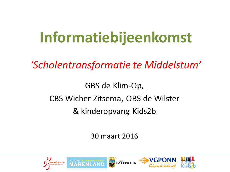 Informatiebijeenkomst 'Scholentransformatie te Middelstum' GBS de Klim-Op, CBS Wicher Zitsema, OBS de Wilster & kinderopvang Kids2b 30 maart 2016