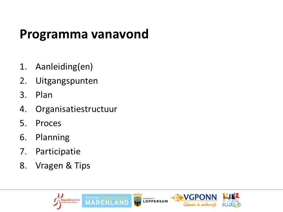 Programma vanavond 1.Aanleiding(en) 2.Uitgangspunten 3.Plan 4.Organisatiestructuur 5.Proces 6.Planning 7.Participatie 8.Vragen & Tips