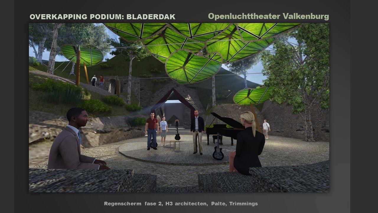 Openluchttheater Valkenburg Regenscherm fase 2, H3 architecten, Palte, Trimmings OVERKAPPING PODIUM: BLADERDAK