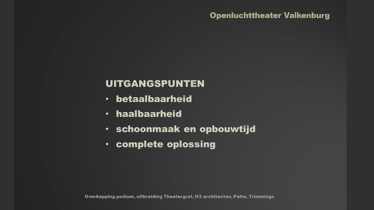 Openluchttheater Valkenburg Overkapping podium, uitbreiding Theatergrot, H3 architecten, Palte, Trimmings UITGANGSPUNTEN betaalbaarheid haalbaarheid schoonmaak en opbouwtijd complete oplossing