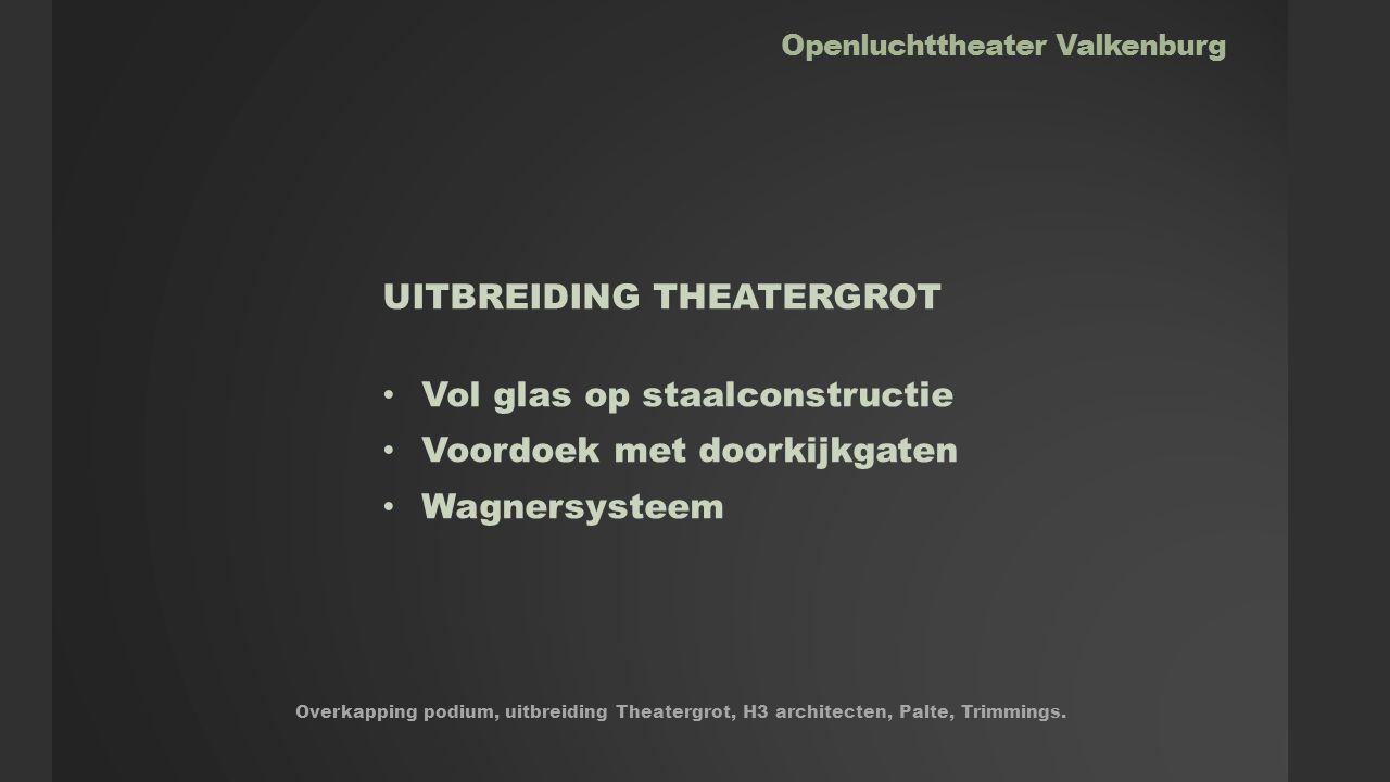 Openluchttheater Valkenburg UITBREIDING THEATERGROT Vol glas op staalconstructie Voordoek met doorkijkgaten Wagnersysteem Overkapping podium, uitbreiding Theatergrot, H3 architecten, Palte, Trimmings.