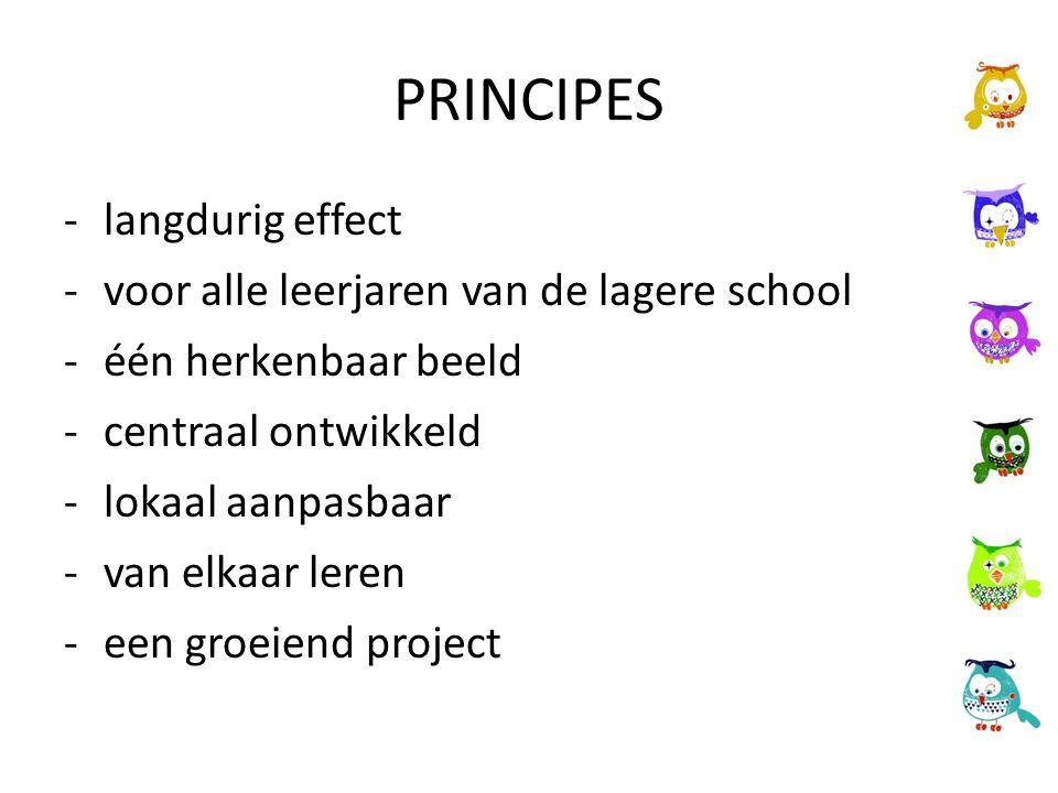 PRINCIPES -langdurig effect -voor alle leerjaren van de lagere school -één herkenbaar beeld -centraal ontwikkeld -lokaal aanpasbaar -van elkaar leren -een groeiend project