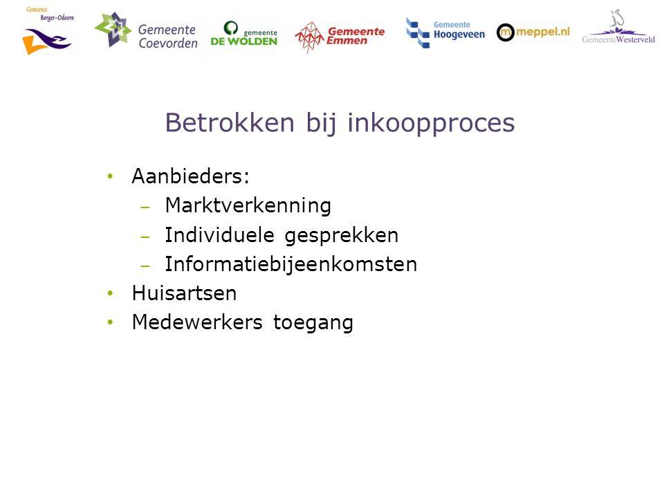 Betrokken bij inkoopproces Aanbieders: ‒ Marktverkenning ‒ Individuele gesprekken ‒ Informatiebijeenkomsten Huisartsen Medewerkers toegang