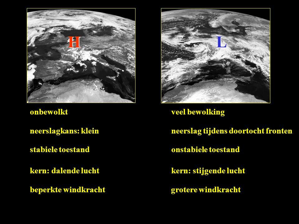 HL onbewolktveel bewolking neerslagkans: kleinneerslag tijdens doortocht fronten stabiele toestandonstabiele toestand kern: dalende luchtkern: stijgende lucht beperkte windkrachtgrotere windkracht