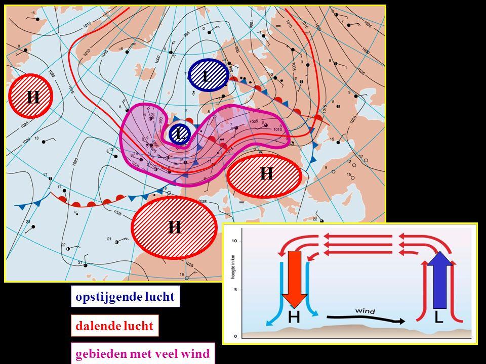 L L H H H opstijgende lucht dalende lucht gebieden met veel wind