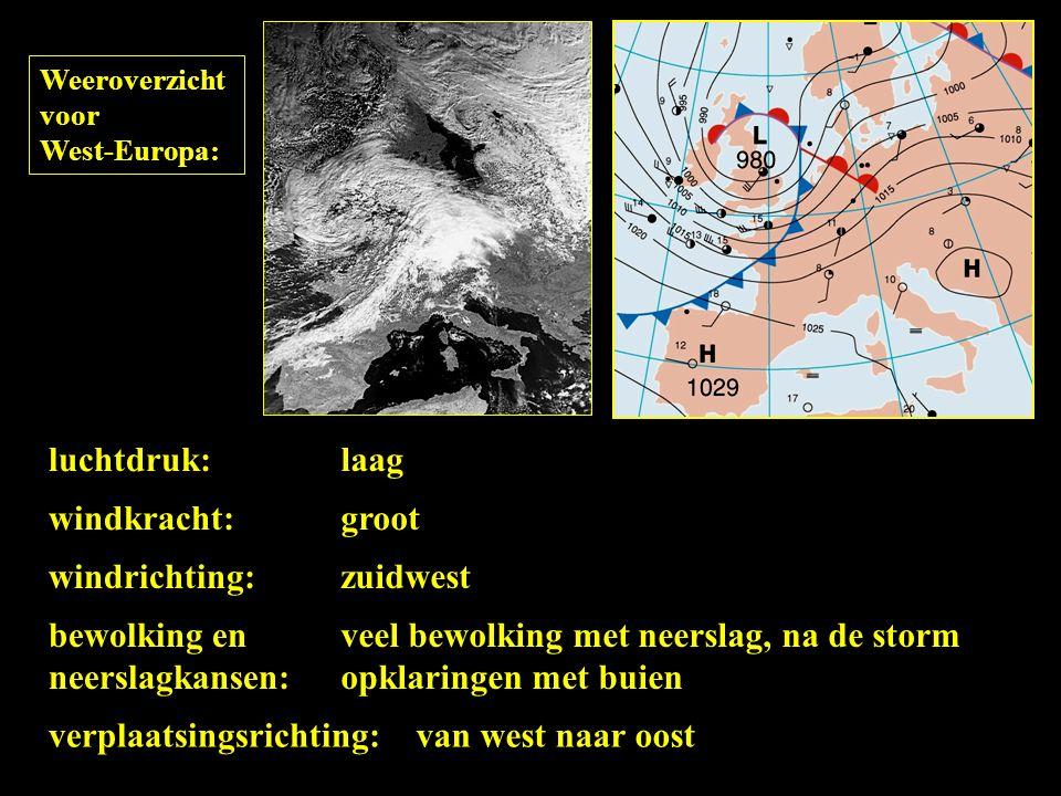 Weeroverzicht voor West-Europa: luchtdruk: windrichting: windkracht: bewolking en neerslagkansen: laag zuidwest groot veel bewolking met neerslag, na