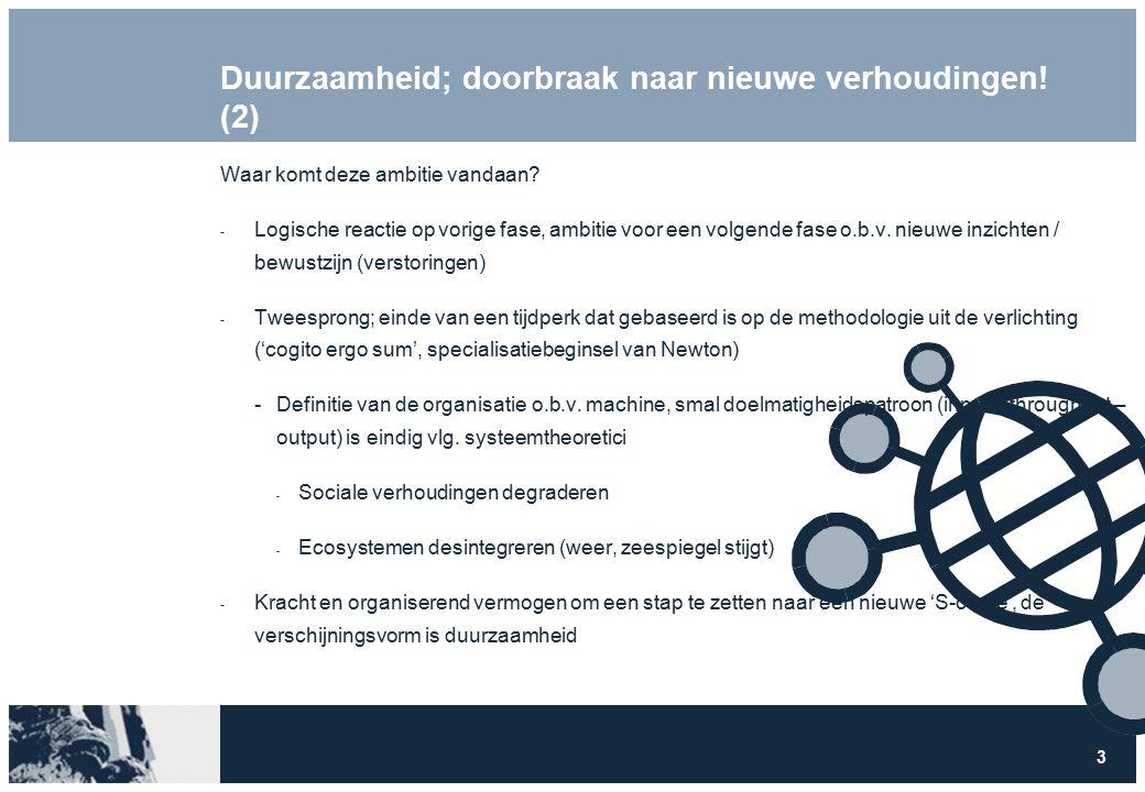 3 Duurzaamheid; doorbraak naar nieuwe verhoudingen! (2) Waar komt deze ambitie vandaan?  Logische reactie op vorige fase, ambitie voor een volgende f