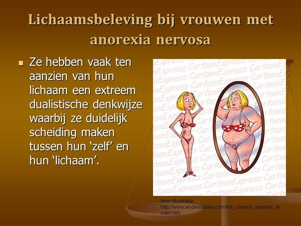 Lichaamsbeleving bij vrouwen met anorexia nervosa Ze hebben vaak ten aanzien van hun lichaam een extreem dualistische denkwijze waarbij ze duidelijk scheiding maken tussen hun 'zelf' en hun 'lichaam'.